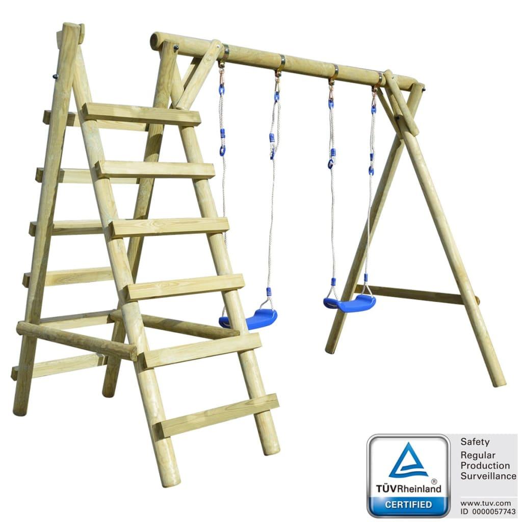 vidaXL Set de leagăne cu scări din lemn de pin 268x154x210 cm poza 2021 vidaXL