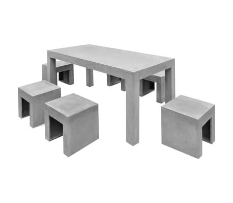 vidaXL Matbord för trädgården 7 delar betong[2/11]