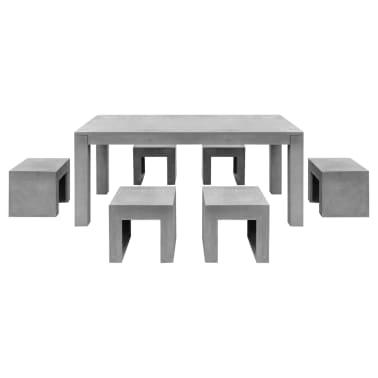 vidaXL Matbord för trädgården 7 delar betong[3/11]