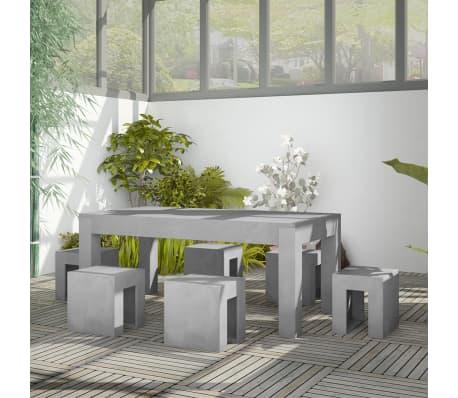 vidaXL Matbord för trädgården 7 delar betong[1/11]