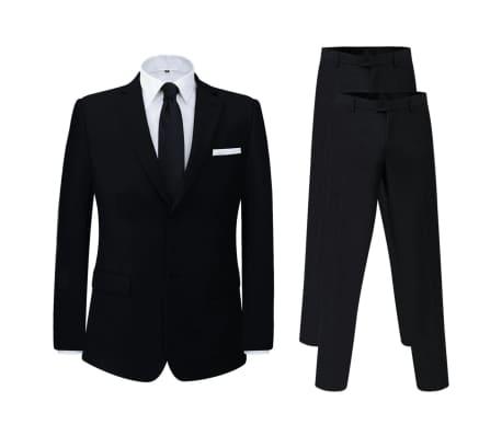vidaXL Miesten puku 2 osaa + ylimääräiset housut Musta Koko 46