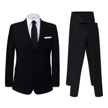 vidaXL Costum bărbătesc 2 piese, pantaloni rezervă, mărime 48, negru[1/8]