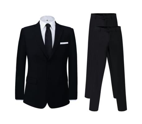 vidaXL Miesten puku 2 osaa + ylimääräiset housut Musta Koko 52