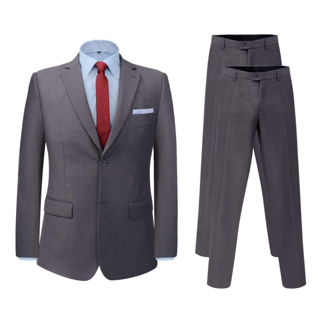 vidaXL Pánský dvoudílný business oblek šedý + kalhoty navíc, vel. 56