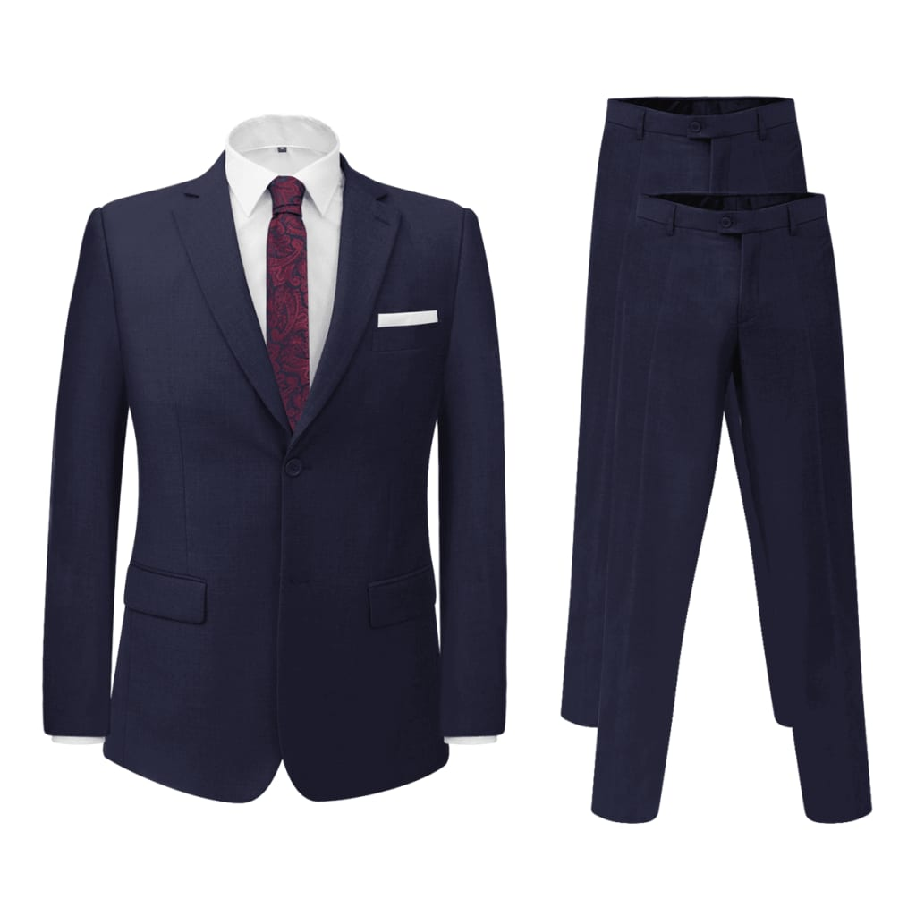 vidaXL Costum bărbați 2 piese, pantaloni rezervă, mărime 46, bleumarin poza vidaxl.ro