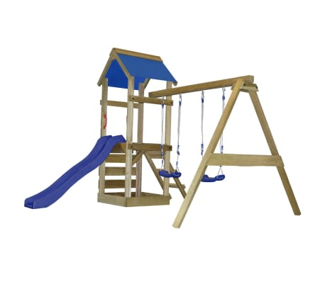 vidaXL Playhouse Set with Ladder, Slide and Swings 290x260x245 cm Wood[4/10]