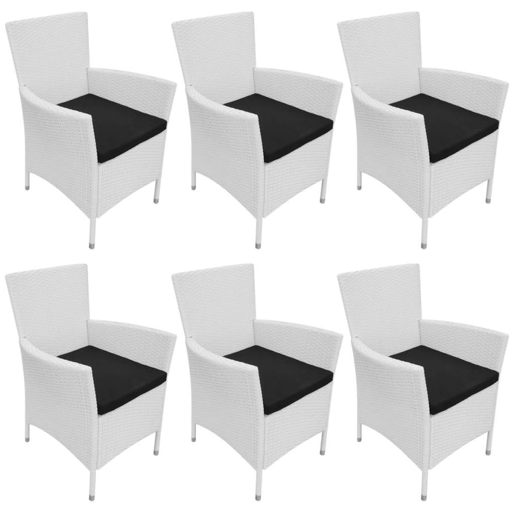 Zahradní židle 6 ks s poduškami polyratan krémově bílé
