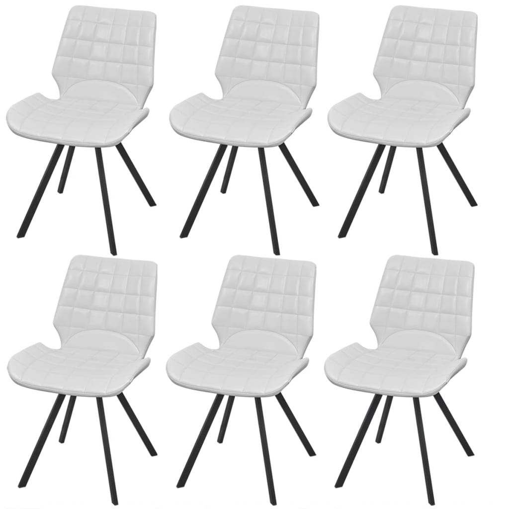 vidaXL Dining Chair Artificial Leather 6 pcs White