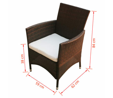 vidaxl gartenst hle 2 stk poly rattan braun g nstig kaufen. Black Bedroom Furniture Sets. Home Design Ideas