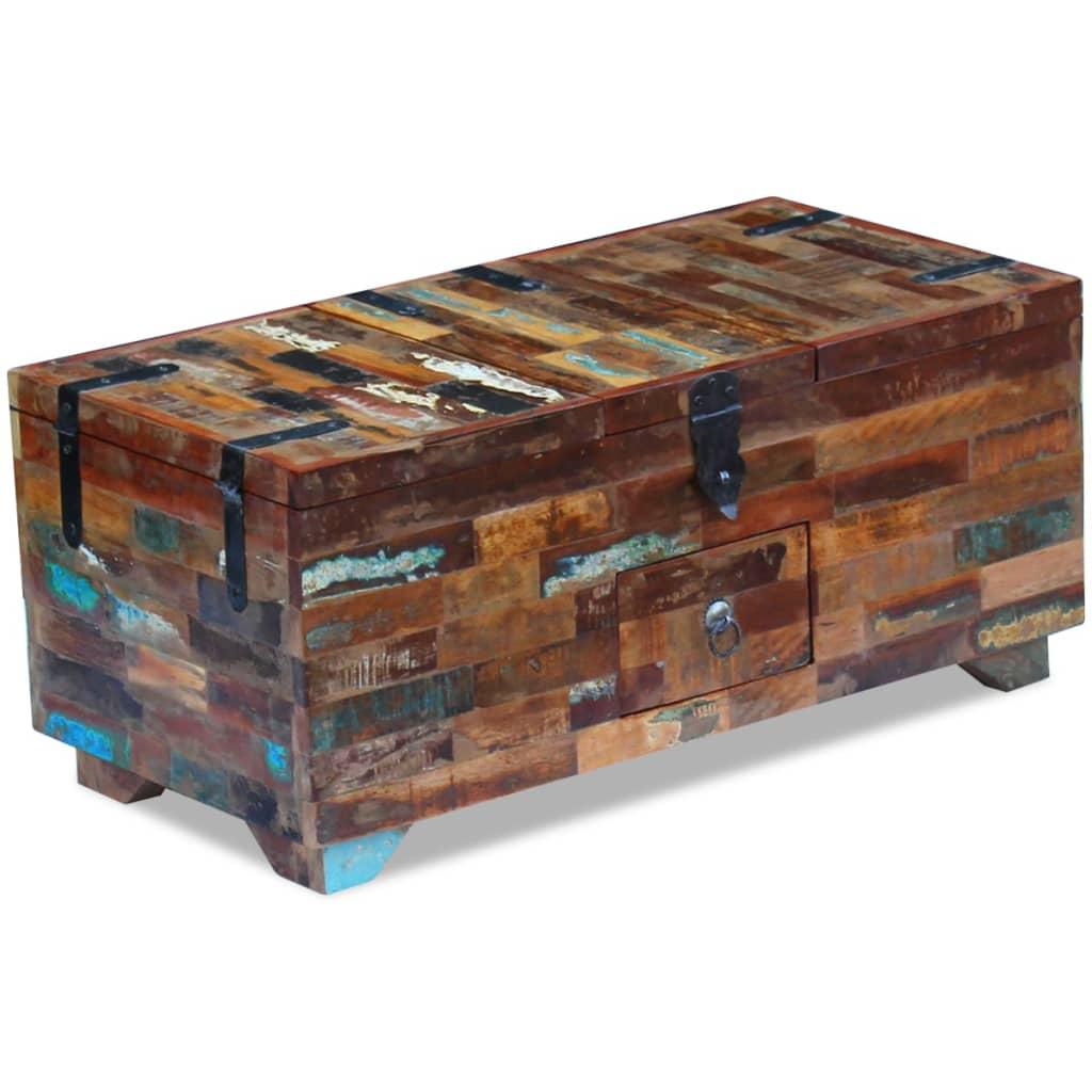 vidaXL Masă de cafea tip cufăr, lemn solid reciclat, 80 x 40 x 35 cm poza vidaxl.ro