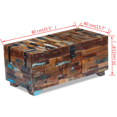 "vidaXL Coffee Table Box Chest Solid Reclaimed Wood 31.5""x15.7""x13.8""[9/9]"