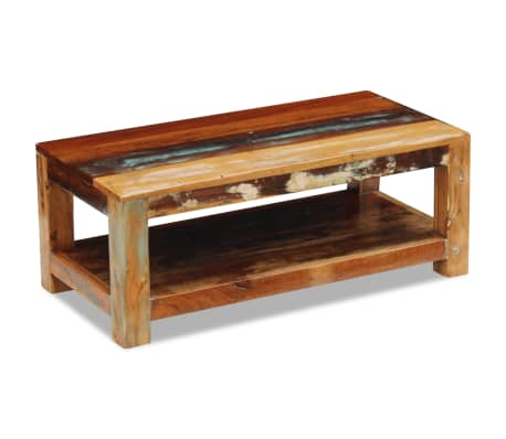 vidaxl table basse bois de r cup ration massif 90 x 45 x 35 cm. Black Bedroom Furniture Sets. Home Design Ideas