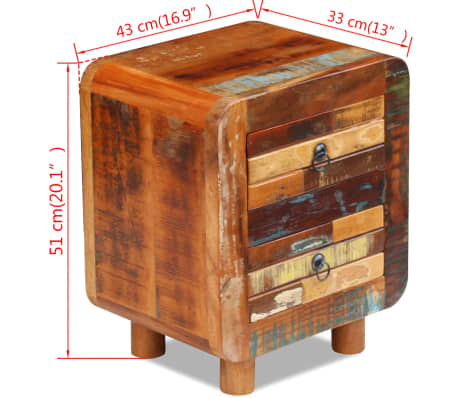"vidaXL Night Cabinet Solid Reclaimed Wood 16.9""x13""x20""[4/9]"