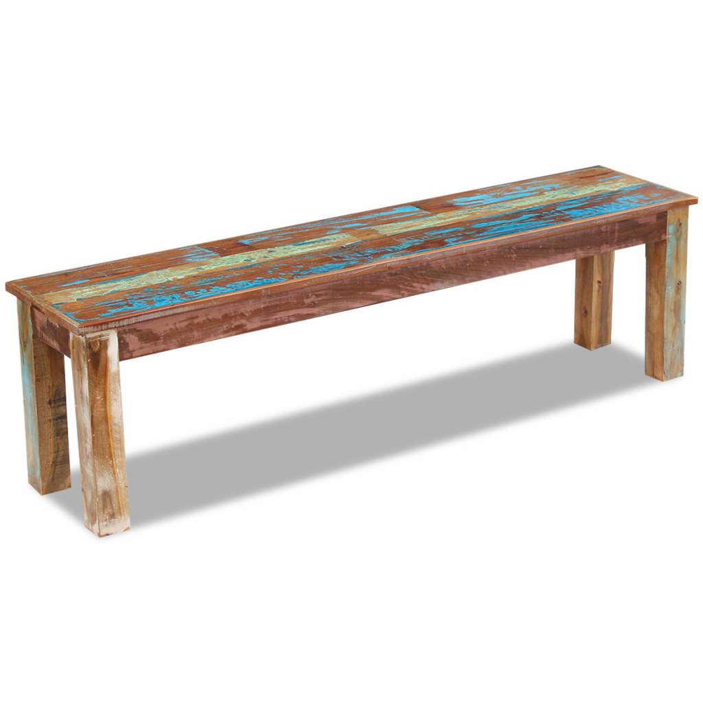 vidaXL Bancă din lemn reciclat de esență tare, 160 x 35 x 46 cm imagine vidaxl.ro