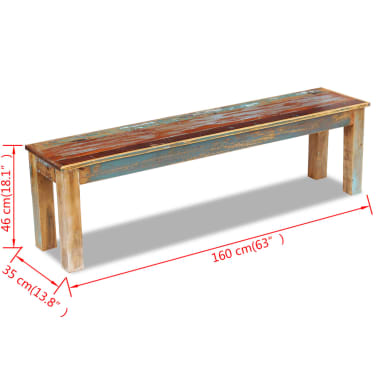 "vidaXL Bench Solid Reclaimed Wood 63""x13.8""x18.1""[8/8]"