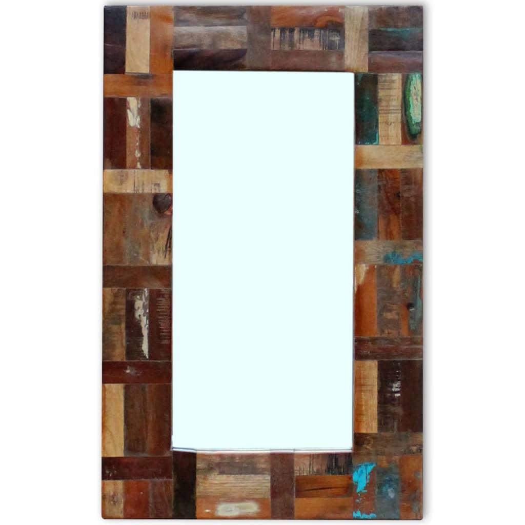 vidaXL Zrcadlo z masivního recyklovaného dřeva 80x50 cm