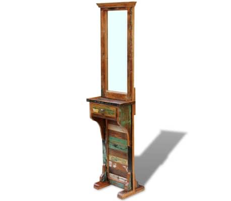 vidaXL Chodbové zrkadlo z masívneho recyklovaného dreva, 47x23x180 cm