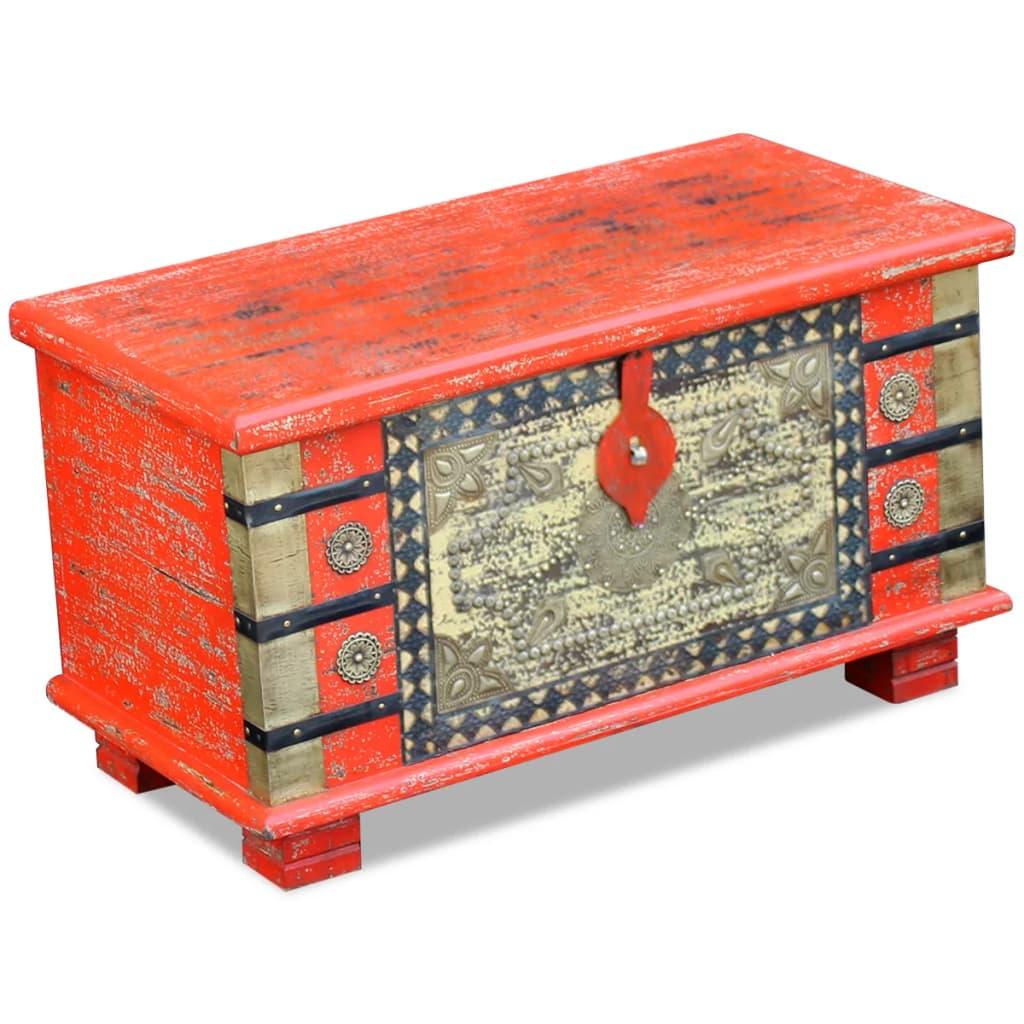 vidaXL Úložná truhla červená z mangovníkového dřeva 80x40x45 cm