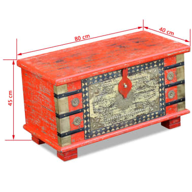 "vidaXL Storage Chest Red Mango Wood 31.5""x15.7""x17.7""[11/11]"