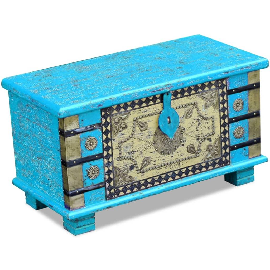 vidaXL Úložná truhla modrá z mangovníkového dřeva 80x40x45 cm
