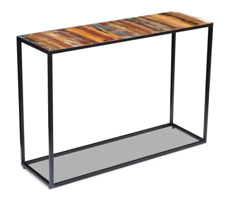 vidaXL Konsolinis staliukas, masyvi perdirbta mediena, 110x35x76 cm[1/8]