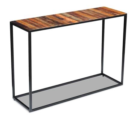 vidaXL Konsolinis staliukas, masyvi perdirbta mediena, 110x35x76 cm[4/8]