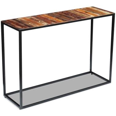 vidaXL Konsolinis staliukas, masyvi perdirbta mediena, 110x35x76 cm[3/8]