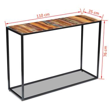 vidaXL Konsolinis staliukas, masyvi perdirbta mediena, 110x35x76 cm[8/8]