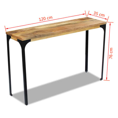vidaXL Console Table Mango Wood 120x35x76 cm[8/8]