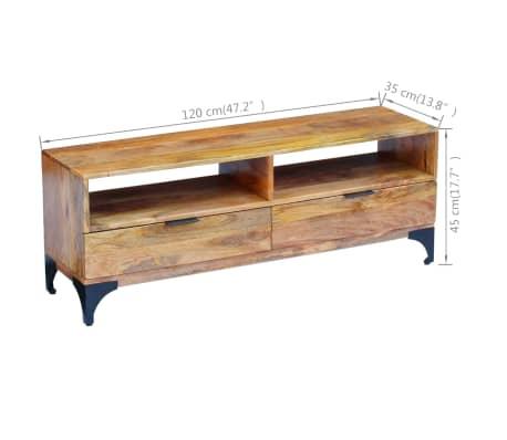vidaXL TV Stand Mango Wood 120x35x45 cm[6/9]