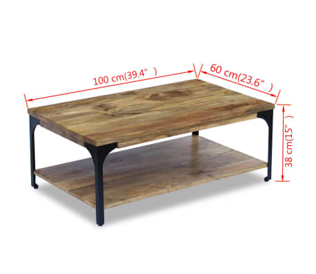 "vidaXL Coffee Table Mango Wood 39.4""x23.6""x15""[7/7]"