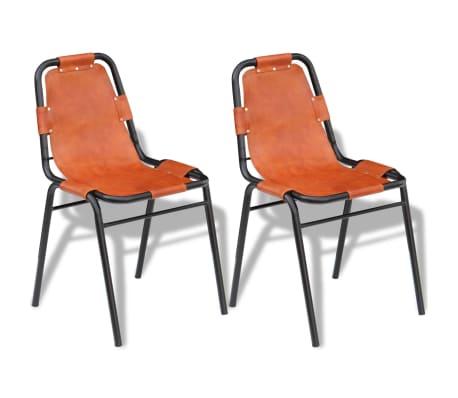 Vidaxl sillas de comedor 2 unidades marr n 59x44x89 cm for Sillas comedor cuero marron