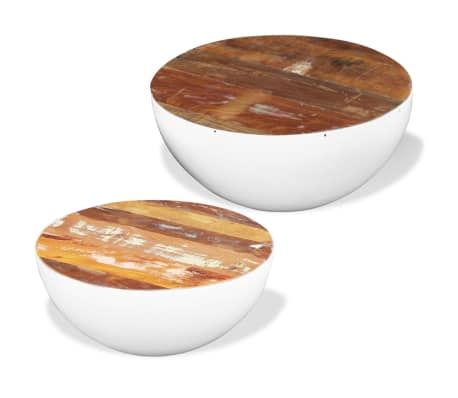 vidaXL Two Piece Bowl Shaped Coffee Table Set Solid Reclaimed Wood[2/8]