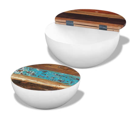 vidaXL Two Piece Bowl Shaped Coffee Table Set Solid Reclaimed Wood[6/8]