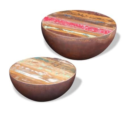 vidaXL Dubens formos kavos staliukas, 2 dalių , perdirbta mediena[3/9]