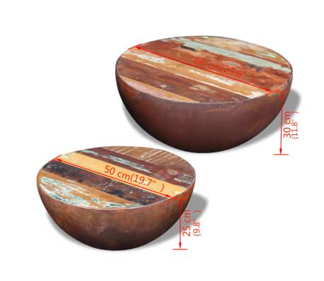 vidaXL Dubens formos kavos staliukas, 2 dalių , perdirbta mediena[9/9]