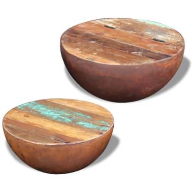 vidaXL Dubens formos kavos staliukas, 2 dalių , perdirbta mediena[2/9]