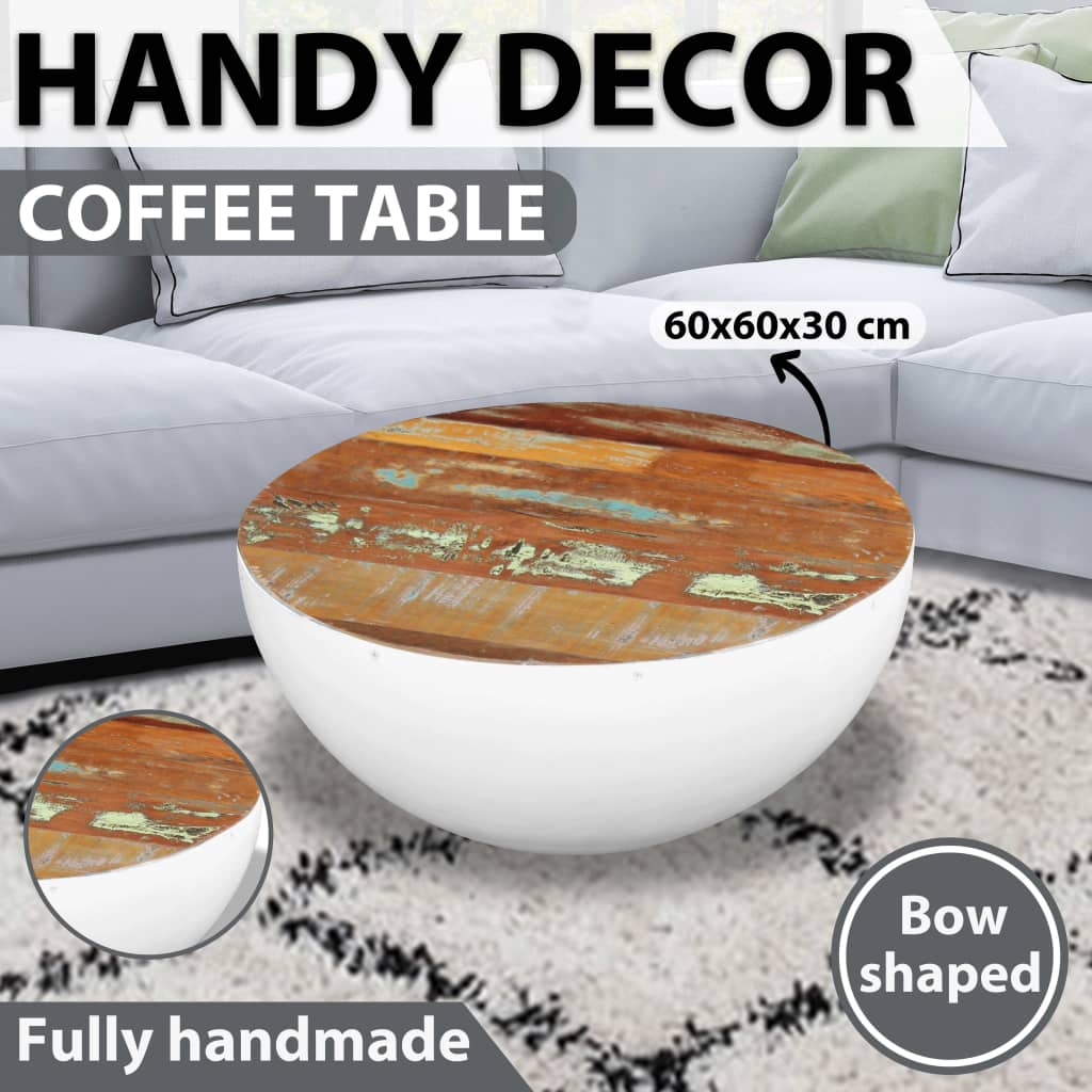 details about vidaxl bowl shaped coffee table solid reclaimed wood living room furniture
