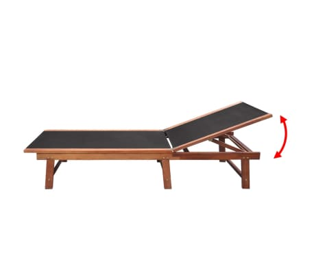 vidaXL Sun Loungers 2 pcs with Table Solid Acacia Wood and Textilene[5/10]