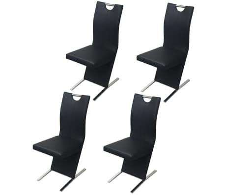 vidaXL Valgomojo kėdės, 4 vnt., juodos, dirbtinė oda