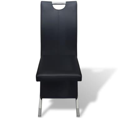 vidaXL Chaises de salle à manger 6 pcs Noir en cuir artificiel[3/8]