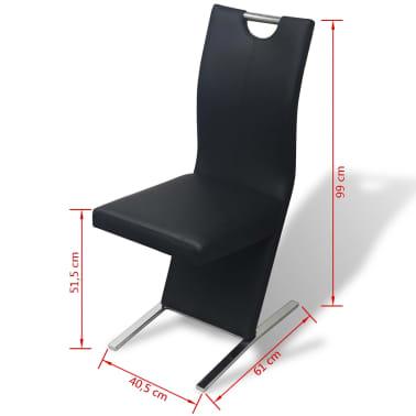 vidaXL Chaises de salle à manger 6 pcs Noir en cuir artificiel[8/8]