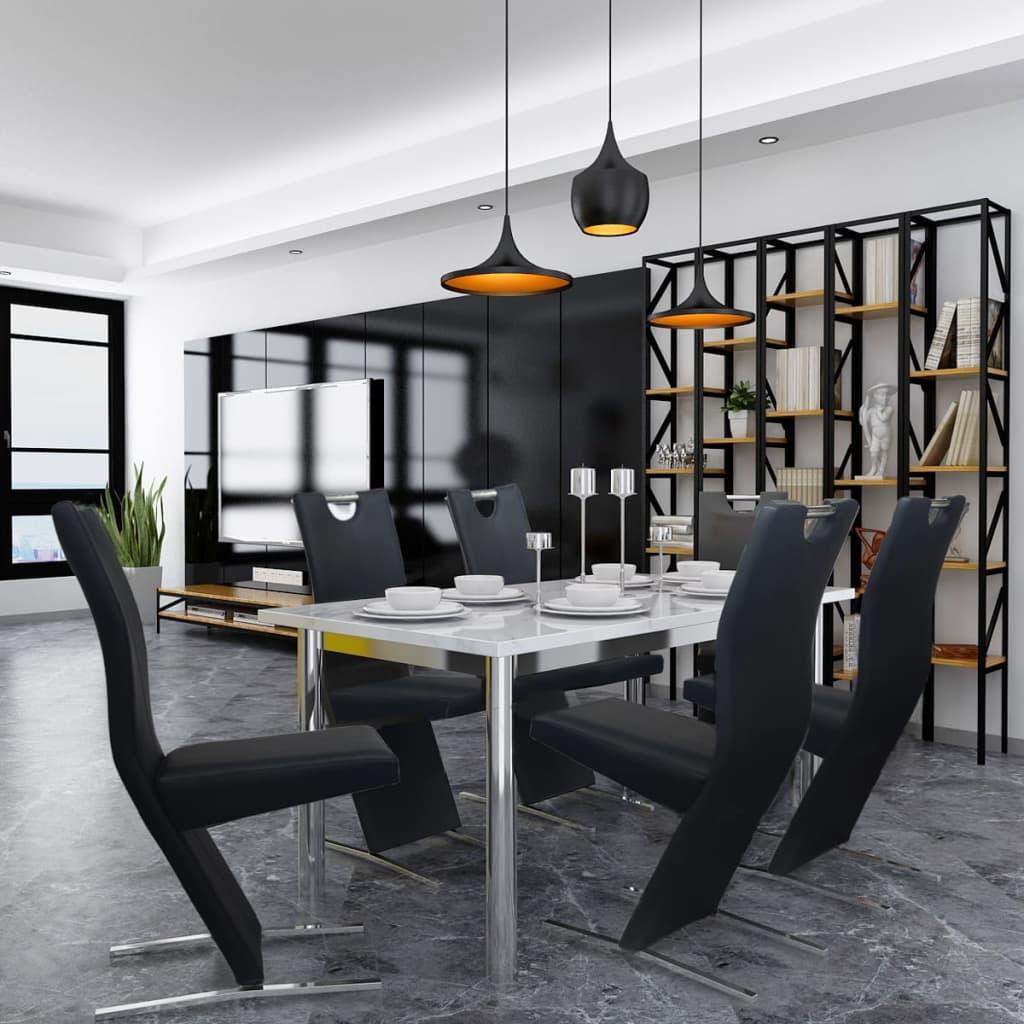 vidaXL Jídelní židle 6 ks, umělá kůže, černé