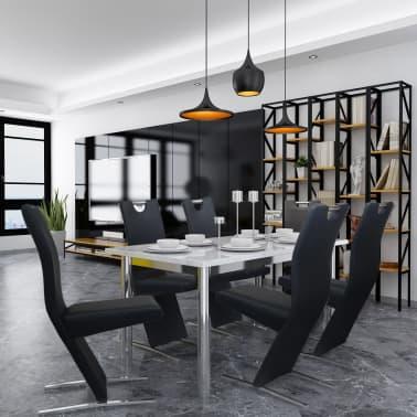 vidaXL Chaises de salle à manger 6 pcs Noir en cuir artificiel[1/8]