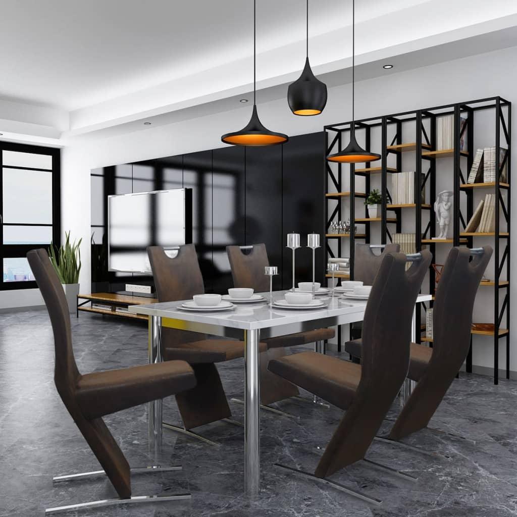 vidaXL Jídelní židle 6 ks textilní hnědé