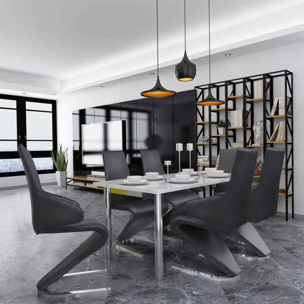 vidaXL Konzolové jídelní židle 6 ks, umělá kůže, černé