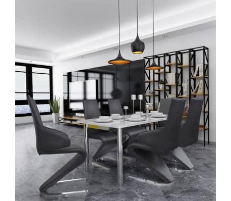 vidaxl freischwinger esszimmerst hle 6 stk kunstleder schwarz g nstig kaufen. Black Bedroom Furniture Sets. Home Design Ideas