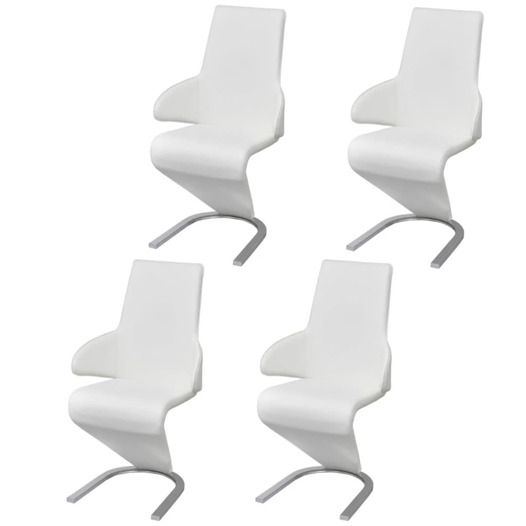 Afbeelding van vidaXL Cantilever eetkamerstoel kunstleer wit 4 stuks