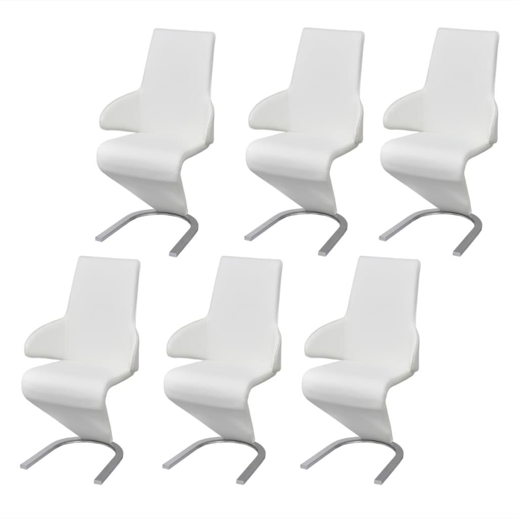 Afbeelding van vidaXL Cantilever eetkamerstoel kunstleer wit 6 stuks