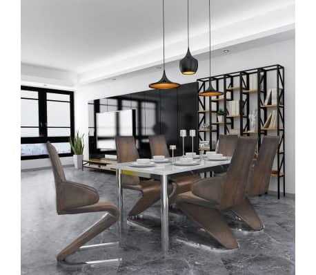 vidaxl esszimmerst hle freischwinger 6 stk stoff braun g nstig kaufen. Black Bedroom Furniture Sets. Home Design Ideas